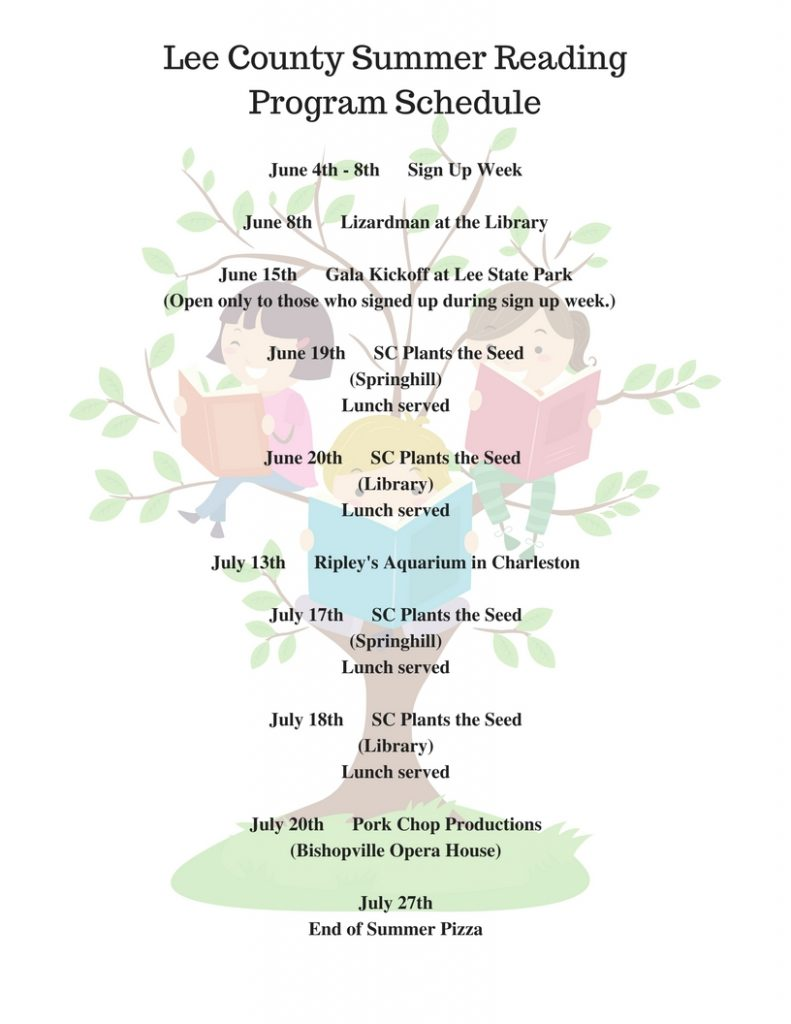 Lee County Summer Reading Program Schedule